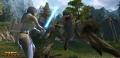 Ein Jedi stellt sich einem Acklay entgegen